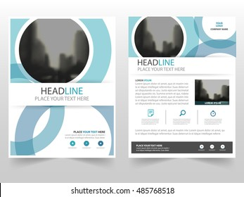 Blue CIrcle business Brochure Leaflet Flyer annual report template design, book cover layout