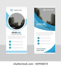 Blue circle Business Roll Up Banner flat design template ,Abstract Geometric banner template Vector illustration set, abstract presentation brochure flyer template vertical template vector
