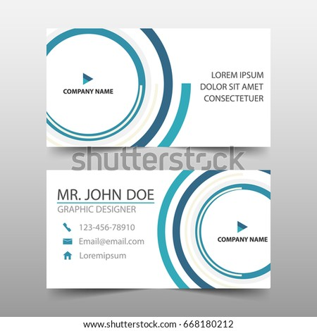 blue circle corporate business card name card template horizontal simple clean layout design template - Circle Business Card Template
