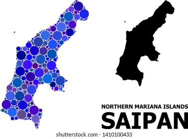 Blue circle dot mosaic and solid map of Saipan Island. Vector geographic map of Saipan Island in blue color tinges. Abstract mosaic is organized with random circle spots.