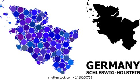 Blue circle dot mosaic and solid map of Schleswig-Holstein State. Vector geographic map of Schleswig-Holstein State in blue color tinges. Abstract collage is created from scattered circle dots.