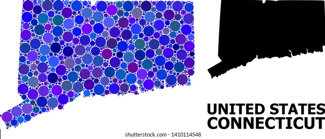 Blue circle dot mosaic and solid map of Connecticut State. Vector geographic map of Connecticut State in blue color tints. Abstract mosaic is organized with randomized spheric pixels.