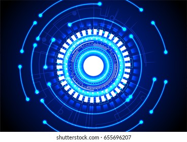 Blue circle enegy with small abstract lights on dark background vector technology background
