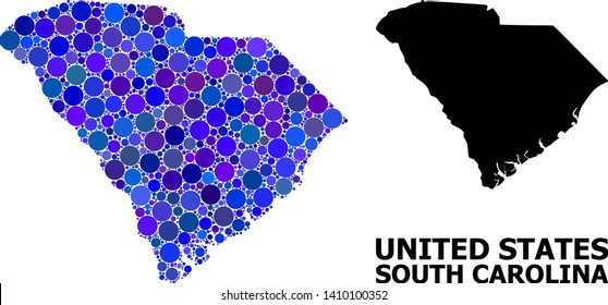 Blue circle mosaic and solid map of South Carolina State. Vector geographic map of South Carolina State in blue color tinges. Abstract mosaic is designed with random circle spots.