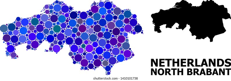 Blue circle mosaic and solid map of North Brabant Province. Vector geographic map of North Brabant Province in blue color tints. Abstract composition is combined from scattered circle items.