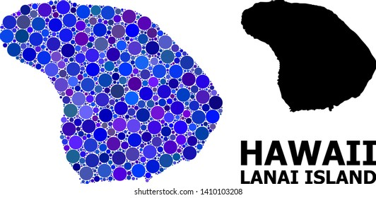 Blue circle mosaic and solid map of Lanai Island. Vector geographic map of Lanai Island in blue color tinges. Abstract composition is done with random circle dots.