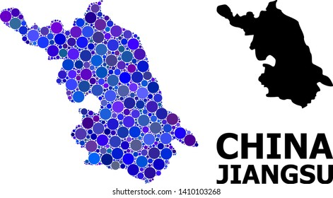 Blue circle mosaic and solid Map of Jiangsu Province. Vector geographic Map of Jiangsu Province in blue color variations. Abstract mosaic is created from random circle items.