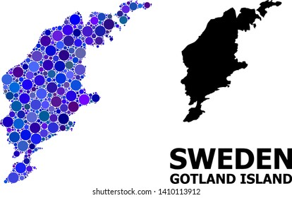 Blue circle mosaic and solid map of Gotland Island. Vector geographic map of Gotland Island in blue color tinges. Abstract mosaic is composed from scattered circle dots.
