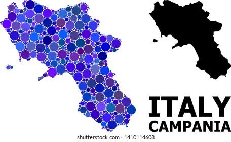 Blue circle mosaic and solid map of Campania region. Vector geographic map of Campania region in blue color hues. Abstract mosaic is organized with random circle blots.