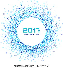 Blue Circle New Year 2017 on white Background. Transparent blue circles frame. Vector illustration