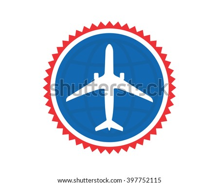 Blue Circle Plane Airport Flight Airline Stock Vector Royalty Free