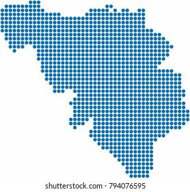Blue circle shape Belgium map on white background. Vector illustration.