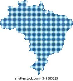 Blue circle shape Brazil map on white background, vector illustration.