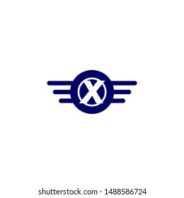 blue circle and wings with X logo letters design concept technology symbol.