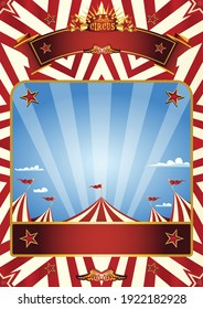 A blue circus background for a poster with a big top in a blue sky with sunbeams !