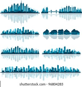 Blue cityscape silhouette with reflection