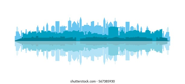 Blue  cityscape silhouette with reflection vector  illustration