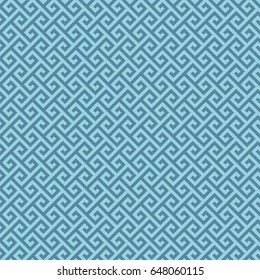 Blue Classic meander seamless pattern. Greek key neutal tileable linear vector background.