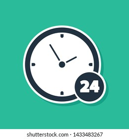 Blue Clock 24 hours icon isolated on green background. All day cyclic icon. 24 hours service symbol.  Vector Illustration