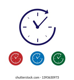 Blue Clock with arrow icon isolated on white background. Time symbol. Clockwise rotation icon arrow and time. Vector Illustration