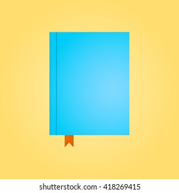 Blue closed diary in top view. Red bookmark. Flat design