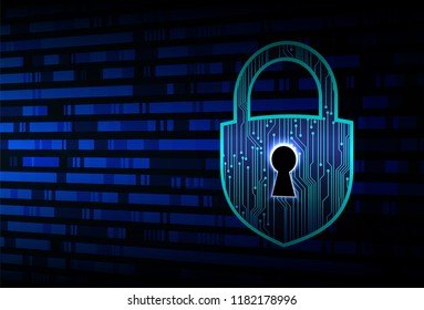 blue Closed Padlock on digital background, cyber security