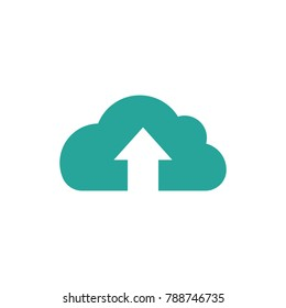 blue cloud with arrow up icon. Isolated on white. Upload icon.  Upgrade sign. North pointing arrow.