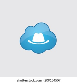 Blue cloud classic hat icon, isolated on gray background
