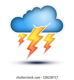 Blue Cloud with Lightning signs for Bad Weather  Cloud Icon with lightning signs on white background, Button Concept on white background