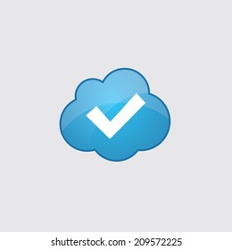 Blue cloud ok icon, isolated on gray background