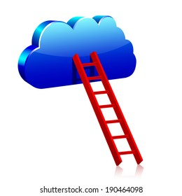 Blue cloud with red ladder
