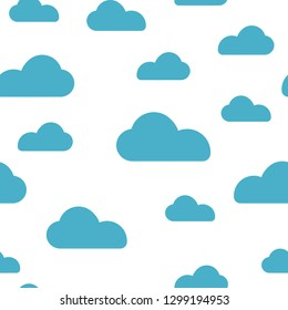 Blue cloud seamless pattern vector design baby art. Baby shower clouds , sky seamless pattern texture- Vector
