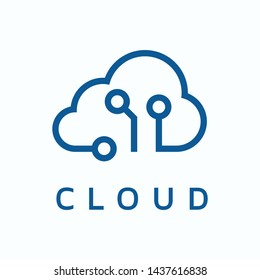Blue Cloud Tech Logo Vector