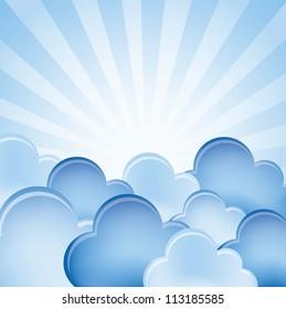 blue clouds over blue background. vector illustration