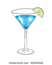 Blue cocktail in martini glass with lime. Hand drawn illustration, eps10 vector.