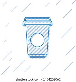 Blue Coffee cup line icon isolated on white background. Disposable coffee cup with hot coffee. Vector Illustration
