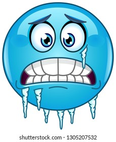 Blue cold freezing emoticon face with icicles clinging to its jaw and cheek