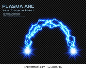 Blue Cold Plasma Energy Arc - Transparent Vector Electric Discharge Voltaic Arc - Abstract Shining Background