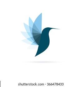 Blue Colibri Logo. Minimalistic Bird simbol design
