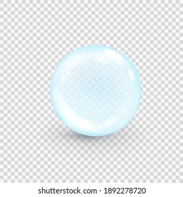 Blue collagen bubble isolated on transparent background. Realistic water serum droplet. Vector illustration of glass surface ball or rain drop