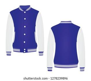 Blue college jacket. vector illustration