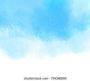 Blue color aquarelle wet hand drawn vector grunge background for banner, card. Watercolor bright abstract cold paint wash paper texture art splash canvas for wallpaper, cover, design