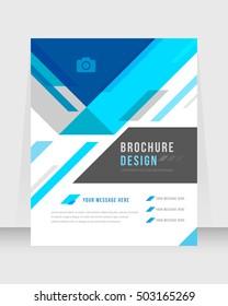 Blue Color Background Busines Book Cover Design Template in A4. Brochure, Magazine, Corporate Presentation, Annual Report, Poster, Website, Flyer, Portfolio, Banner