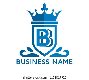 blue color beautiful simple luxury classic vintage swirl or floral shield border logo design template with initial name of business company on it type letter b