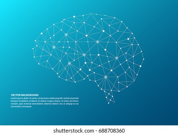 Blue color brain mapping concept with dots, circles and lines