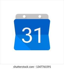 Blue color calendar number 31 icon. Vector illustration.
