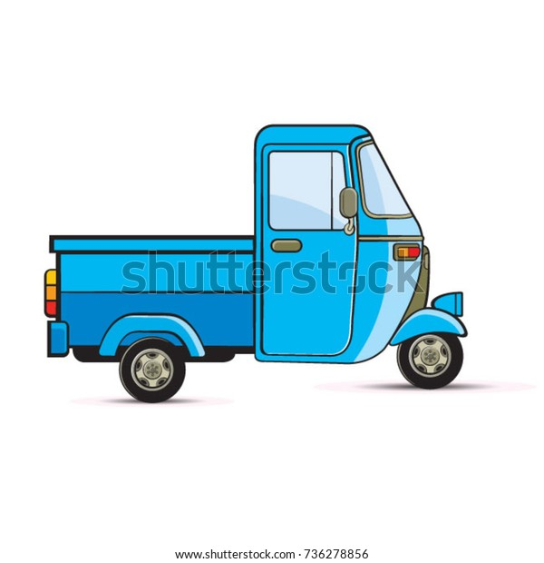 Blue Color Delivery Three Wheelervector Drawing Stock Vector
