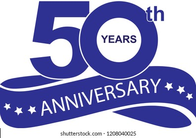 blue color fiftieth anniversary logo vector graphic design with three star surrounded ribbon