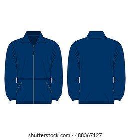 Blue color fleece outdoor jacket isolated vector on the white background