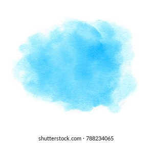 Blue color hand drawn paper texture watercolor soft vector isolated wet smear on white background for art design, card, tag. Grunge smooth fluid aqua blur element